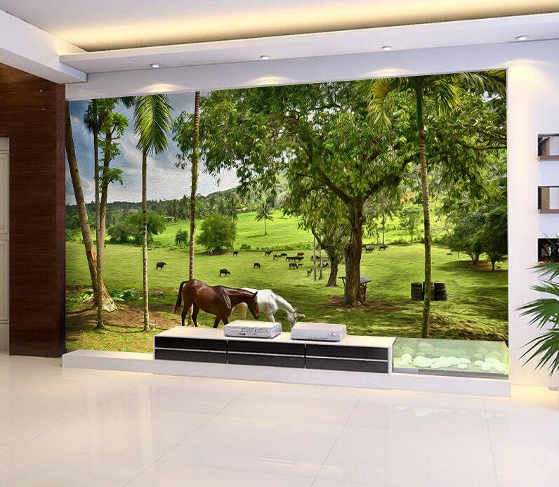 3D Horse Grass Trees 7 Wall Paper Murals Wall Print Wall Wallpaper Mural AU Kyra