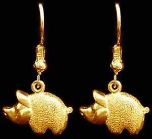 Image Is Loading Cute Silver Pig Piglet Earrings Gold Plated Jewelry