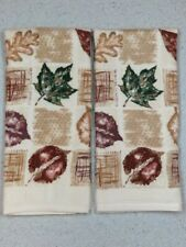 "Kitchen Hand Towels Fall Burgundy Leaf  Velour//Terry Cloth 25/"" X 16/' Set of 2"