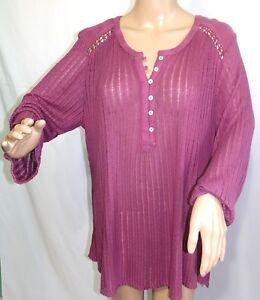 Lucky Brand Women Plus Size 2x 3x Semi Sheer Burgundy Tee T Shirt Top Blouse