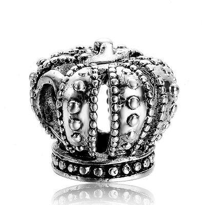 EX-182 Crown European silver charm pendant bead Fit 925 Bracelet/Necklace chain