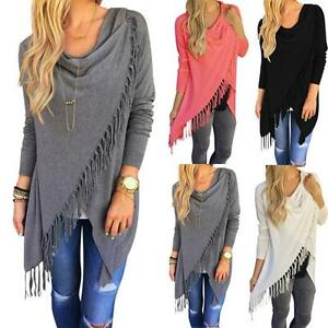 AU-Womens-Irregular-Tassel-Draped-Cardigan-Coat-Jackets-Jumpers-Poncho-Loose-Top