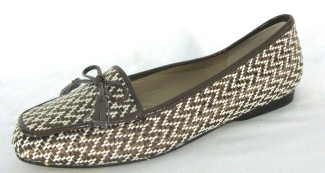 07108406203 Enzo Angiolini Shoes Sz 6.5N Loafers Bronze Brown White Woven Chevron Zig  Zag