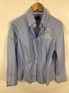 L-039-ARGENTINA-Damen-Bluse-Groesse-40-blau-weiss-gestreift-sehr-schick
