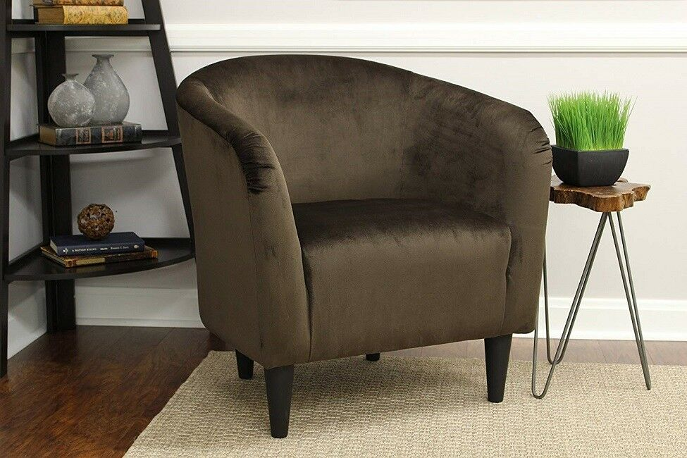 Miraculous Armchair Club Bucket Tub Chair Seat Barrel Arm Accent Upholstered Modern Brown Cjindustries Chair Design For Home Cjindustriesco