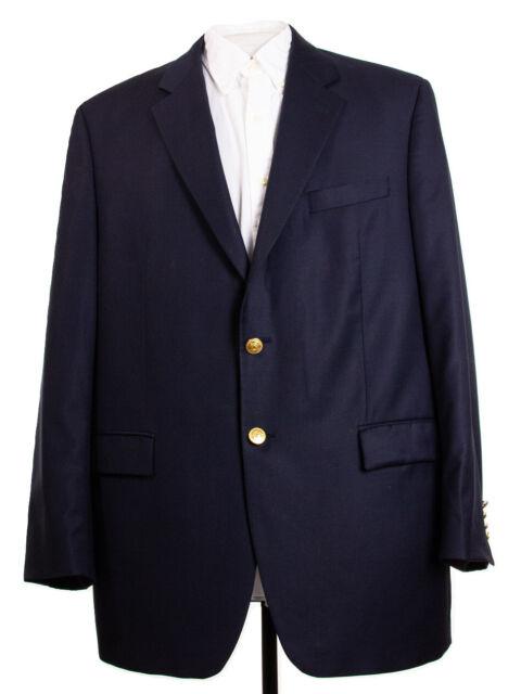 Ralph Lauren Mens 44L Navy Blue Gold Button Wool Sports Coat Blazer Jacket