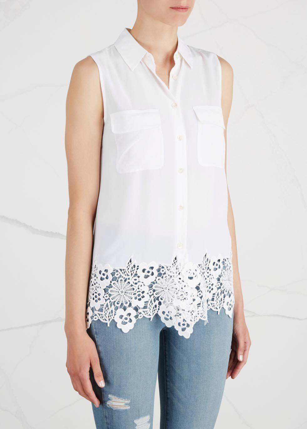 NWT Equipment Sleeveless Signature Lace Trim Silk Shirt Bright Weiß Größe M