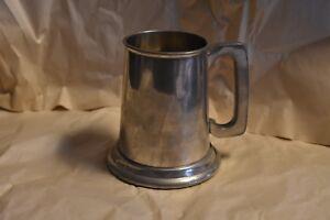 English-Pewter-Tankard-Beer-Mug-Stein-Made-In-Sheffield-England-Glass-Bottom