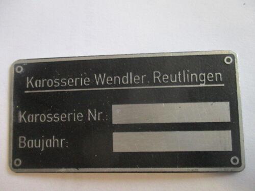 Panneau plaque signalétique s37 Oldtimer Porsche Wendler carrosserie Reutlingen