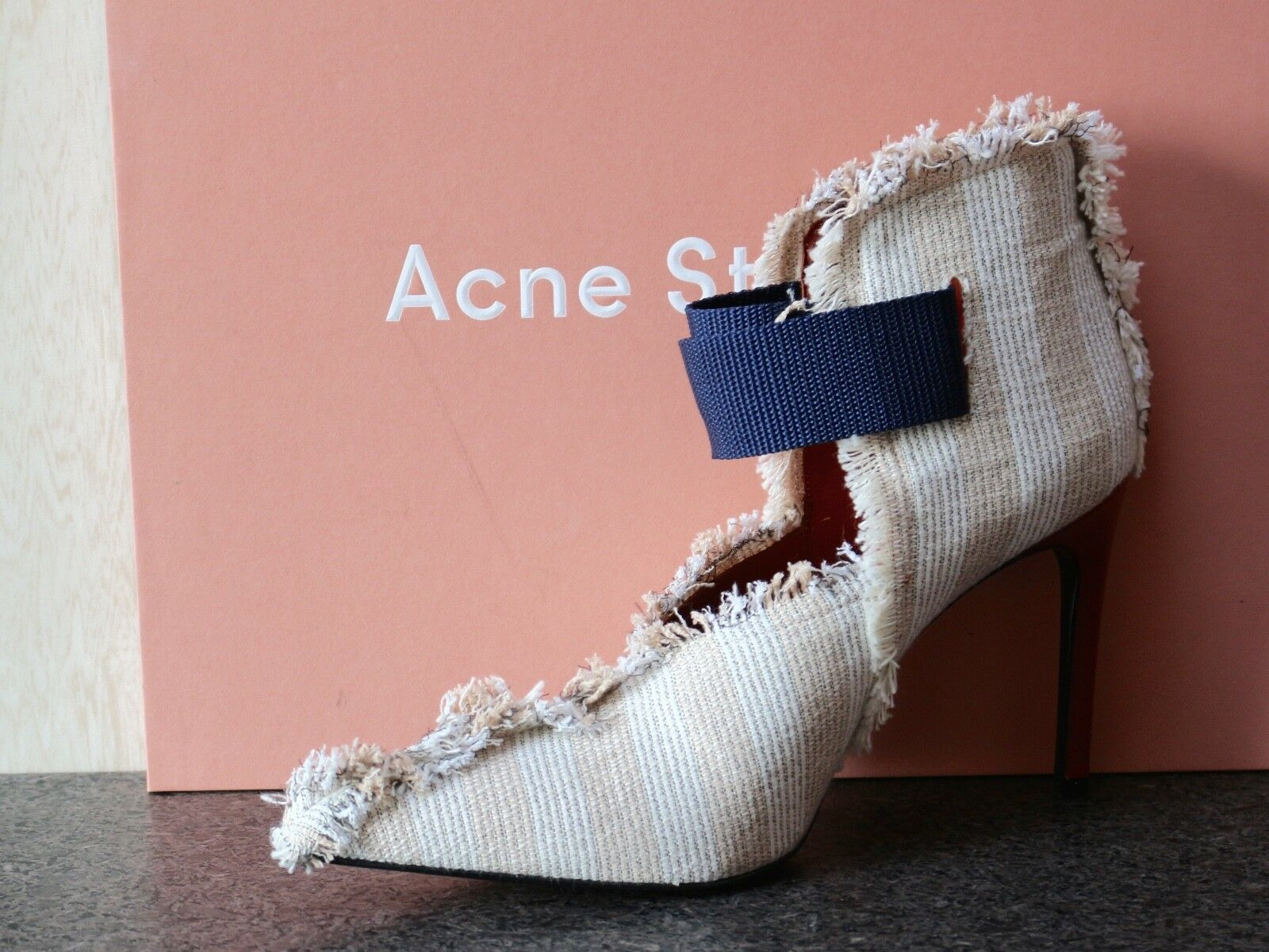 NIB ACNE STUDIO BOOTIES FRINGE FABRIC/LEATHER VALCRO POINTED TOE ANKLE BOOTIES STUDIO schuhes 39 4aa4c7