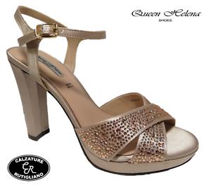 Donna Queen Tacco Helena Sandali Strass Alto Raso Scarpe Eleganti 3qSc45jLAR