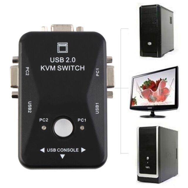 2 Porta USB 2.0 VGA/SVGA KVM Switch Box For Mouse Keyboard Monitor Sharing AU