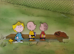 Charlie Brown, Linus, Sally and Woodstock Original Production Cel Set Up