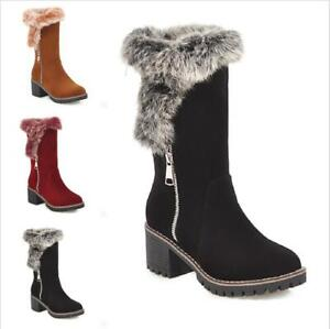 Womens Fur Lined Warm Snow Shoes Platform Winter Outdoor Mid Calf Boots SIZE