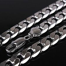 """18ct White gold filled Silver Men's necklace 23.6"""" Chain Set xmas gift"""