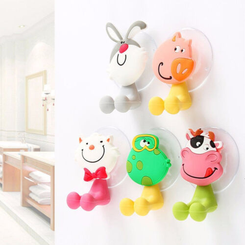 1X3D Cartoon Animal Cute Sucker Toothbrush Wall Holder Suction Cup Bathroom Baby