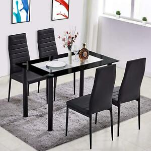 5 Piece Tempered Glass Dining Table Set And 4 Chairs Kitchen Room