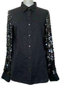 DRIES VAN NOTEN BLACK DRESS SHIRT WITH SEQUIN SLEEVES, 40, $1150