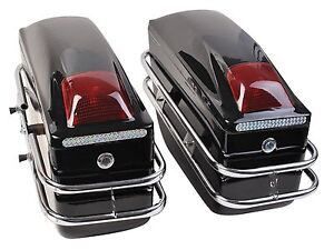 2-Pcs-Scoorer-Cruiser-Hard-Trunk-SaddleBags-Luggage-w-Lights-Mounted-Black