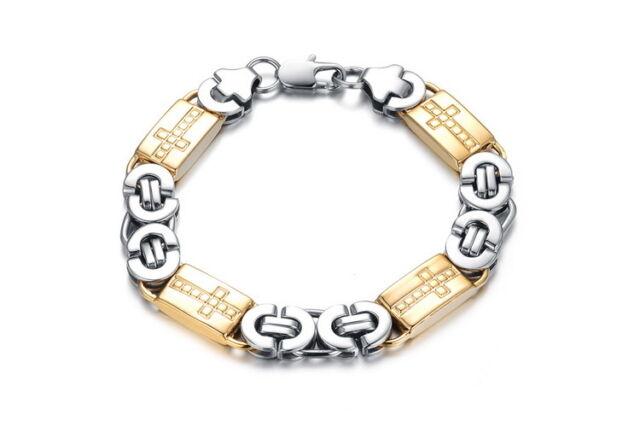 18K Gold GP Modern Classic Metal Men's Bracelet Gold