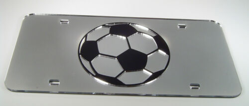 SOCCER SPORT BALL SOCCERBALL  MIRRORED LASER  LICENSE PLATE INLAID ACRYLIC