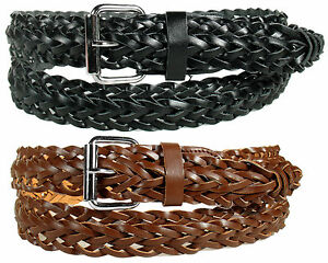BLACK / BROWN BASKET WEAVE WOVEN LEATHER BELT with BELT BUCKLE - SIZE S M L XL