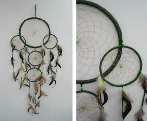 Huge Dream Catchers 40 INCH ROUND GREEN FIVE RING HUGE DREAM CATCHER large western 39