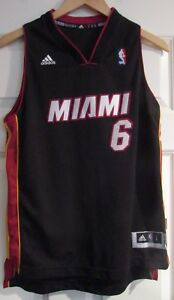 new product 5d6fb 87e2f Details about NBA Miami Heat Lebron James #6 Jersey Youth Large Length +2  Adidas EUC