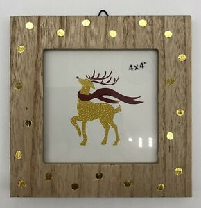 """with wall mount loop /& desk stand 4/"""" x 4/"""" Polka Dot Frame Wood Opalhouse NEW"""
