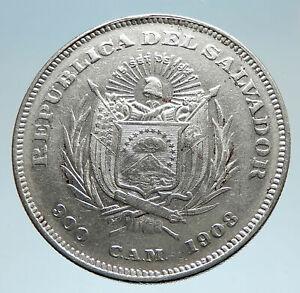 1908-EL-SALVADOR-w-Explorer-Christopher-Columbus-Genuine-Silver-Peso-Coin-i75224