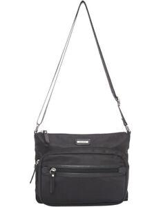 NEW-Joan-Weisz-Trip-Zip-Top-Crossbody-Bag-Black