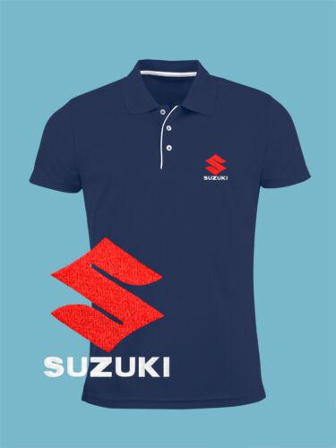 Suzuki Slim Fit Polo T Shirt EMBROIDERED Auto Moto Logo Motorcycle Mens Clothing