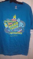 Disney Run 2016 Marathon Weekend Blue Mickey Shirt Men's Size Medium
