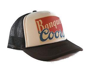 af1cf92eca9 COORS BANQUET beer hat Trucker Hat mesh hat snapback hat tan brown ...