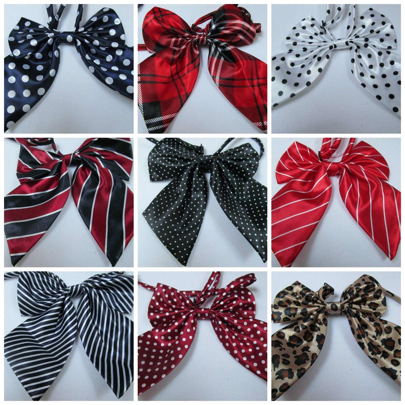 Señoras de moda de satén estilo lazo de cuello Corbata Cravat 15 + Colores Fiesta De Disfraces, Reino Unido
