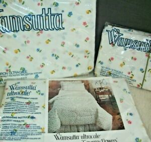Vintage-Wamsutta-Twin-Sheet-Set-4-Pc-No-Iron-Pastel-Country-Flowers-NOS-USA-Made
