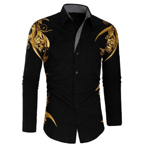 Luxury Men Fashion Long Sleeve Tops Casual Print Shirt Print Slim Fit Shirts CA