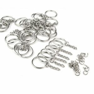Jmkcoz 100pc Metal Split Key Ring with Chain Silver Key Ring