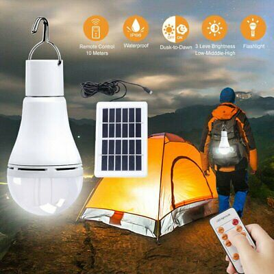 Solar Powered Shed Light Bulb LED Portable Hang Up 9W Lamp Hooking Chicken Coop
