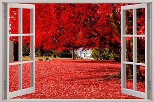 Huge-3D-Window-view-Red-Autumn-Park-Forest-Wall-Sticker-Mural-Art-Decal-235