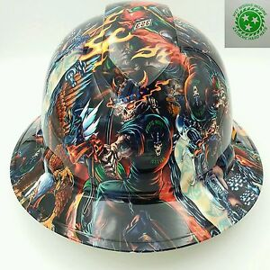 Hard Hat FULL BRIM CUSTOM OSHA approved COLOR DEATH RIDER , NEW HYDRO DIPPED