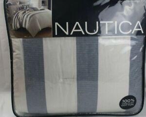 Nautica-Home-Fairwater-Stripe-3-PC-FULL-QUEEN-Comforter-amp-Shams-Set-Blue-298