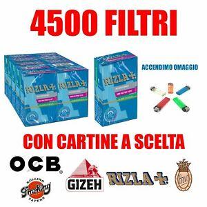 4500-Filtri-Rizla-Slim-6mm-Cartine-Corte-a-Scelta-Accendino-Omaggio