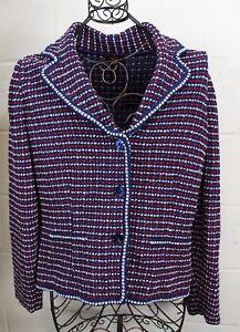 ESCADA-Chic-Navy-Blue-Red-White-Tweed-Knit-Sweater-Jacket-Blazer-42-M-L-Italy