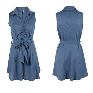 Women's Summer Belted Sleeveless V-Neck Button Dress Tie Waist Mini Shirt Dress