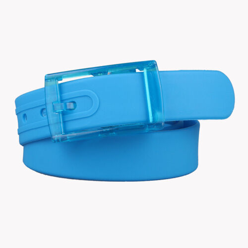 Men Women Silicone Rubber Leather Belt Adjustable Cuttable Waistband 17 Color