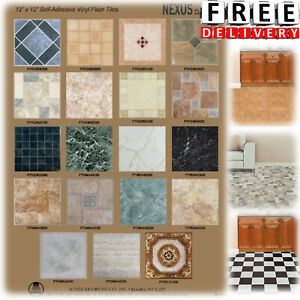 Details About Vinyl Floor Tile Self Adhesive 12x12 20 Pack Kitchen Bathroom Peel Stick Set