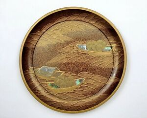 1930-Japanese-Makie-Raden-Lacquer-Mother-Pearl-Plate-Dish-Boat-Ship-River-Scene