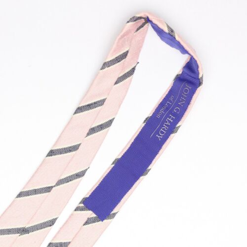John G Hardy Mens Shantung Silk Necktie Pink Gray White Stripe Slub Weave Tie