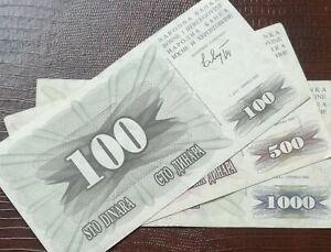 BOSNIA 100 500 1000 Dinara War Money Banknote 1992